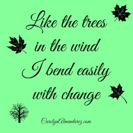 Like the trees in the wind I bend easily with change
