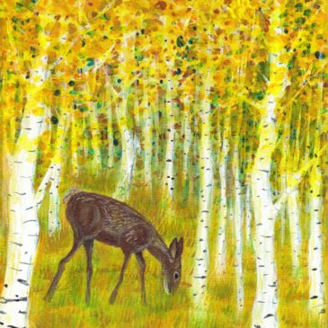Deer Grazing In A Grove Of Golden Aspen Trees